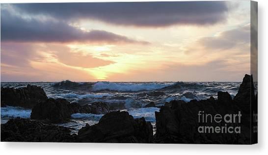 Sunset Waves, Asilomar Beach, Pacific Grove, California #30431 Canvas Print
