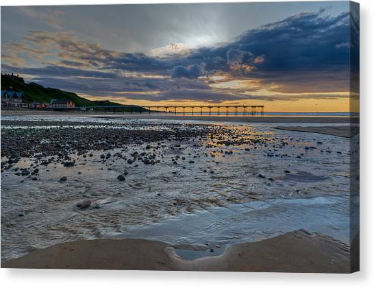 Sunset With Saltburn Pier Canvas Print