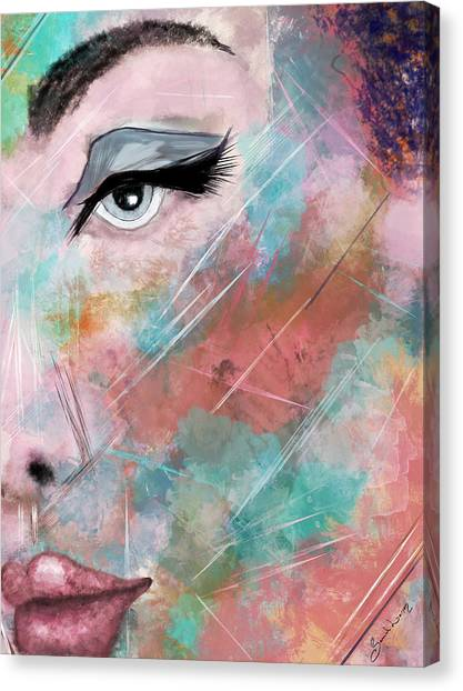 Sunset - Woman Abstract Art Canvas Print