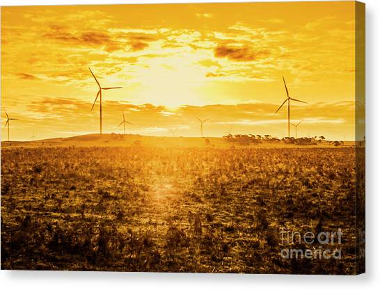 Conservation Canvas Print - Sunsets And Golden Turbines by Jorgo Photography - Wall Art Gallery