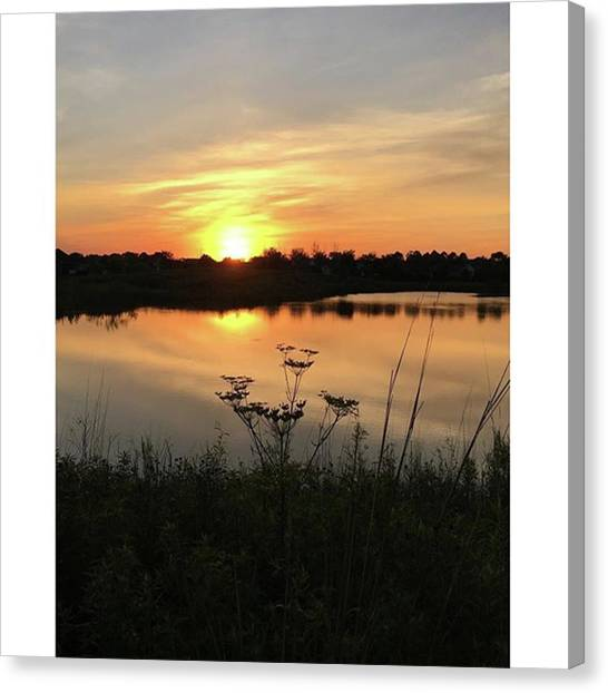 Social Canvas Print - Amber Sunset By The Lake by Phunny Phace