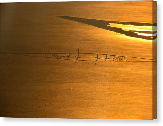 Sunshine Skyway Bridge At Sunset Canvas Print