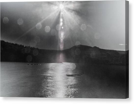 Canvas Print featuring the photograph Sunspots Over Ladybower Black And White by Scott Lyons