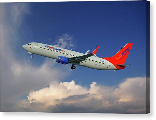 Airlines Canvas Print - Sunwing Airlines Boeing 737-8bk by Smart Aviation