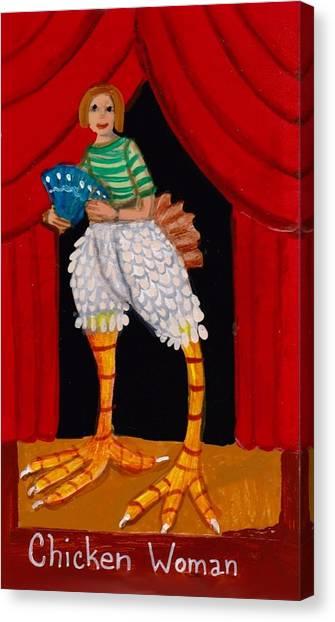Super Amazing Chicken Woman Canvas Print