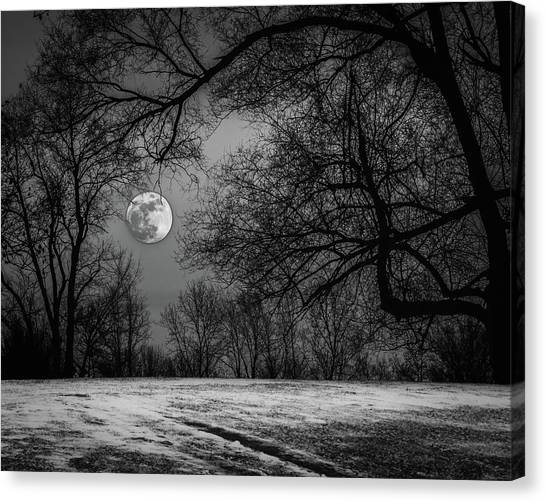 Super Blue Moon Rising Bw Canvas Print