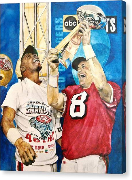 San Francisco 49ers Canvas Print - Super Bowl Legends by Lance Gebhardt