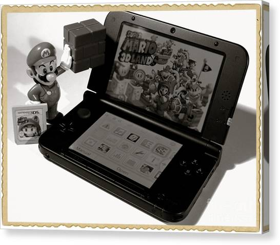 Gameboy Canvas Print - Super Mario Black And White by Stefano Senise