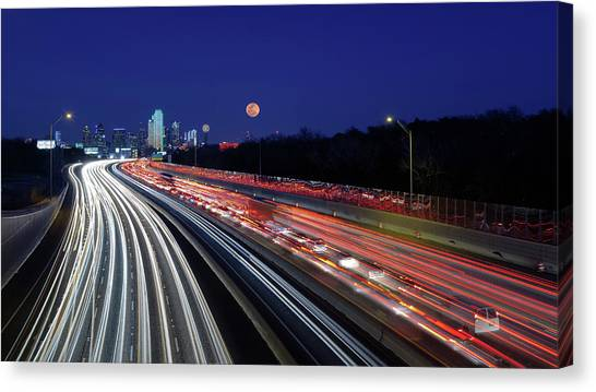 Super Moon And Dallas Texas Skyline Canvas Print