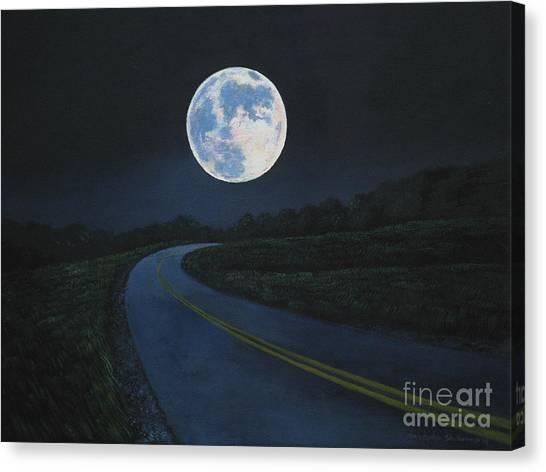 Super Moon At The End Of The Road Canvas Print
