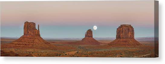 Desert Sunsets Canvas Print - Super Moon In Monument Valley by Jon Glaser