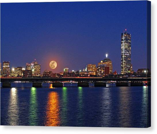 Super Moon Over Boston Canvas Print