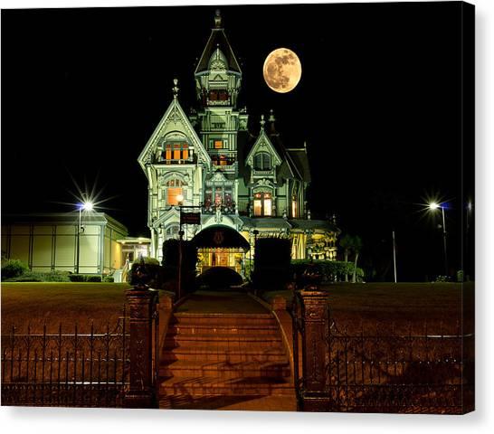 Super Moon Over Carson Mansion Canvas Print