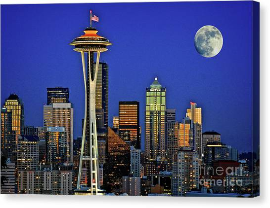 Super Moon Over Seattle Canvas Print