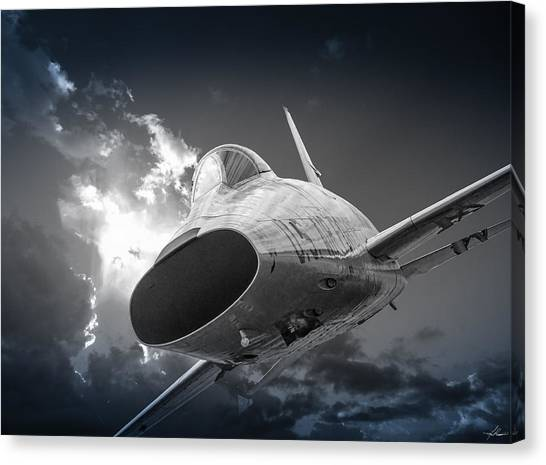 Super Sabre Rolling In On The Target Canvas Print