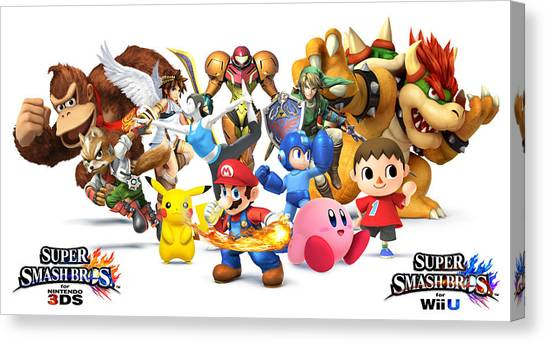 Wii Canvas Print - Super Smash Bros. For Nintendo 3ds And Wii U by Dorothy Binder