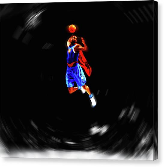 Dwight Howard Canvas Print - Superman Dwight Howard In Flight by Brian Reaves