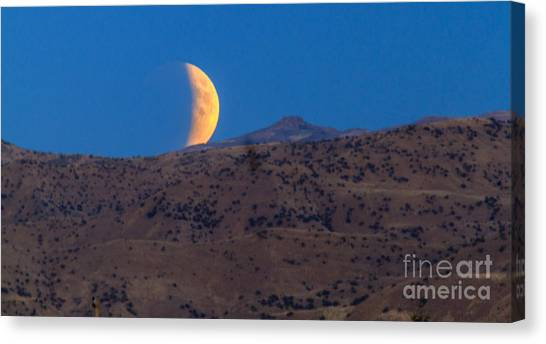 Blood Moon Canvas Print - Supermoon Eclipse by Robert Bales
