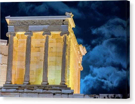 Canvas Print featuring the photograph Supermoon In Acropolis by Nikos Stavrakas