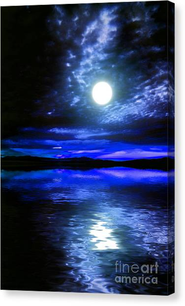 Supermoon Over Lake 2 Canvas Print