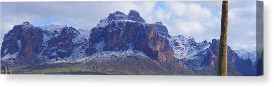Canvas Print featuring the photograph Superstition Mountain Snowfall by Broderick Delaney