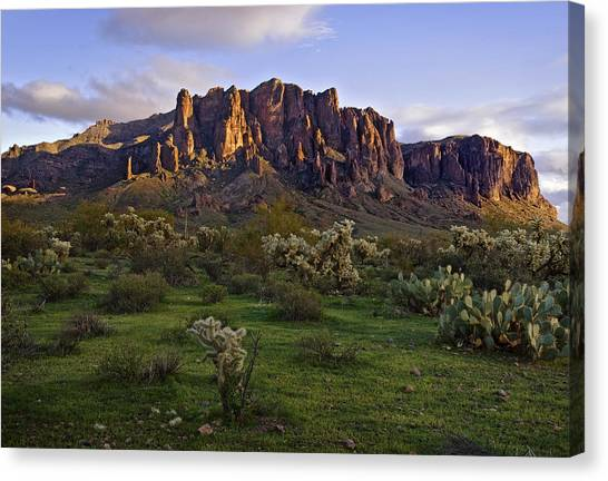 Superstitions Mountains On Green Canvas Print