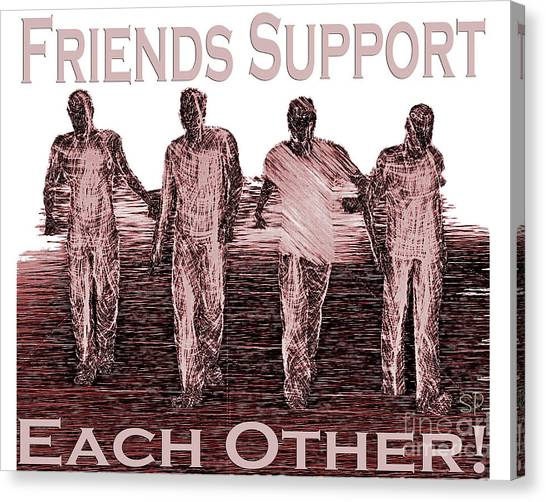 Support Friends In Bronze Canvas Print