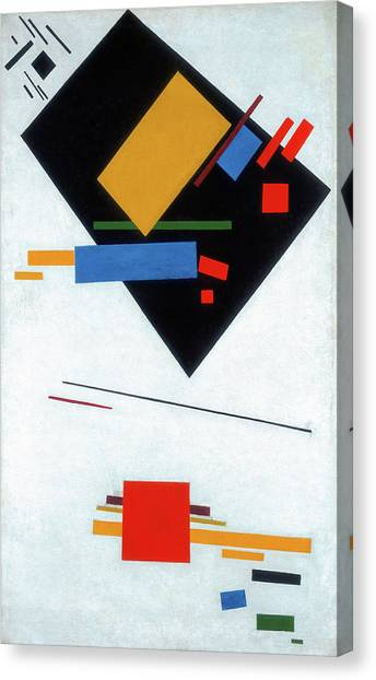 Suprematism Canvas Print - Suprematist Painting, With Black Trapezium And Red Square by Kazimir Malevich