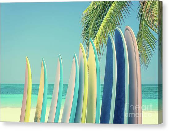 Surfboard Canvas Print - Surfboards by Delphimages Photo Creations