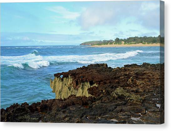 Surf At Mahaulepu Beach Hawaii Canvas Print
