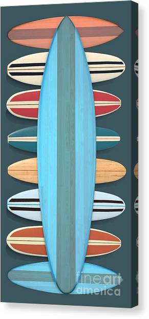 Canvas Print featuring the digital art Surf Boards 5 by Edward Fielding