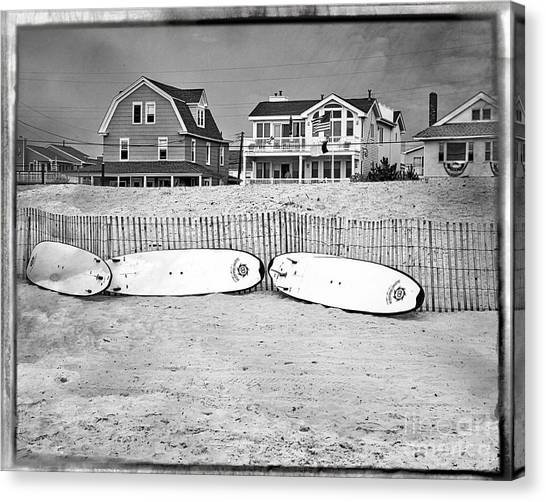 Surfboard Fence Canvas Print - Surf Boards On The Beach by Tom Gari Gallery-Three-Photography
