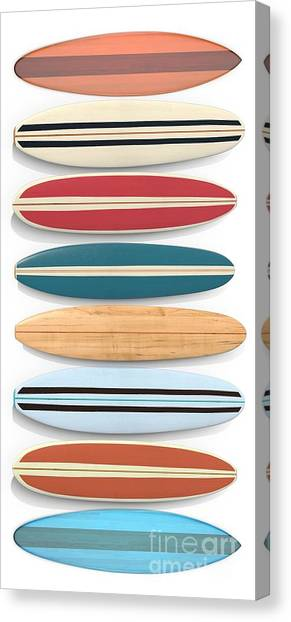 Surfboard Fence Canvas Print - Surf Boards Tee And Phone Case by Edward Fielding