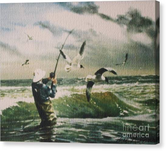 Surf Casting For Striped Bass At Gull Rock Canvas Print