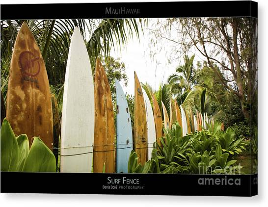 Surfboard Fence Canvas Print - Surf Fence - Maui Hawaii Posters Series by Denis Dore