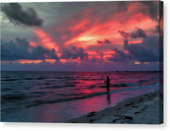 Fishing Poles Canvas Print - Surf Fishing At Sunset by Tom Mc Nemar