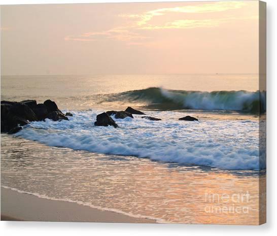 Surf In Peachy Ocean Grove Sunrise Canvas Print