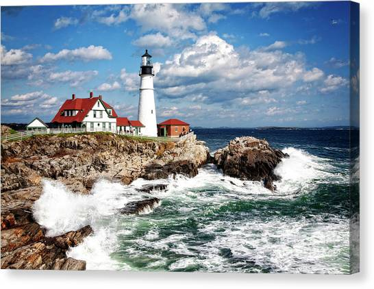 Canvas Print featuring the photograph Surf Meets Land by Scott Kemper