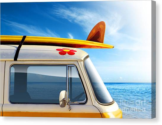 Surfboard Canvas Print - Surf Van by Carlos Caetano