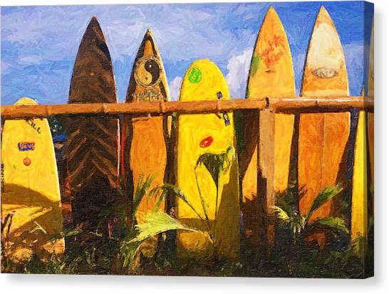 Surfboard Fence Canvas Print - Surfboard Garden by Ron Regalado