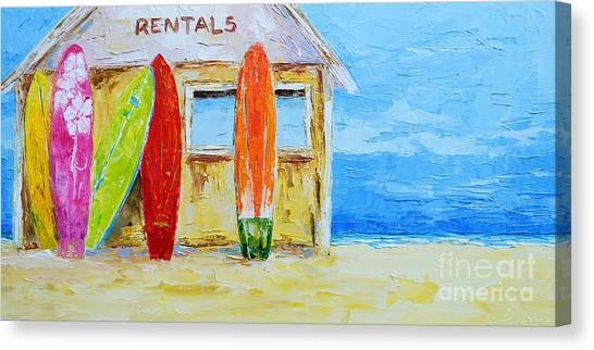 Surf Board Rental Shack At The Beach - Modern Impressionist Palette Knife Work Canvas Print