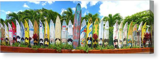 Surfboard Fence Canvas Print - Surfboards In Hawaii by ELITE IMAGE photography By Chad McDermott