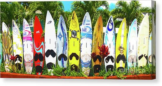 Surfboard Fence Canvas Print - Surfboards In Paia Maui Hawaii by ELITE IMAGE photography By Chad McDermott