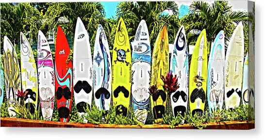 Surfboard Fence Canvas Print - Surfboards In Paia Maui Hawaii In Hdr by ELITE IMAGE photography By Chad McDermott