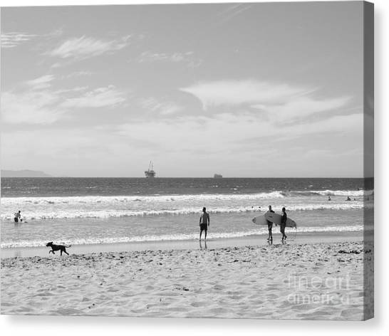 Strollin On Dog Beach Canvas Print