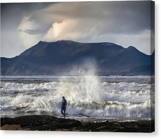 Surfer And A Big Wave Canvas Print