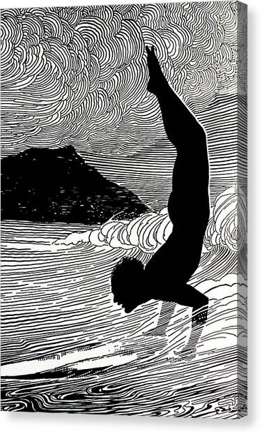 Surfing Canvas Print - Surfer And Waikiki by Hawaiian Legacy Archive - Printscapes