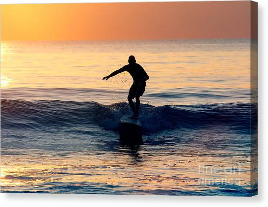 Surfer At Dusk Canvas Print