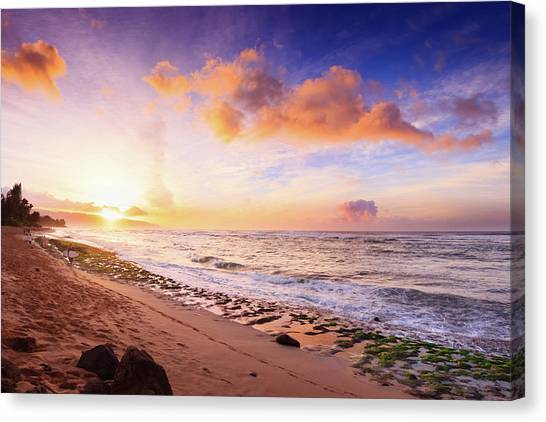 Surfer At Sunset Canvas Print