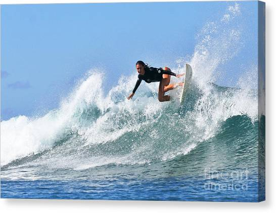 Surf Canvas Print - Surfer Girl At Bowls 5 by Paul Topp